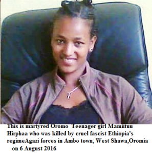 This is martyred Oromo teenager girl  Mamiituu Hirphaa who was killed by cruel fascist Ethiopia's regime Agazi forces in Ambo town, West Shawa, Oromia on 6 August 2016