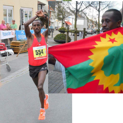 Athlete Fraol Ebissa Won the Germany 10Km race and shows his solidarity with #OromoProtests. 4 September 2016. p2