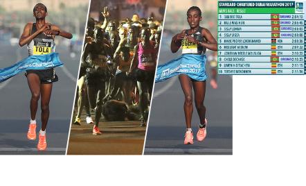 oromo-athletes-tamirat-tola-and-waraqinesh-degefa-win-dubai-martahon-2017-mens-and-womens-race-respectively