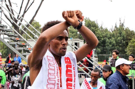 Oromo athlete Feyisa Lilesa (the global icon of #OromoProtests) wins the Bogota Half Marathon, 30 July 2017.
