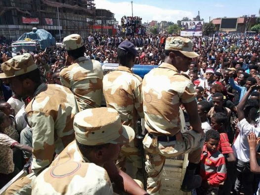 Irreecha 2017 celebrated at Malkaa Hadiyyaa in city of Naqamtee, E. Wallaggaa, Oromia, 29 October 2017 with peaceful Oromia Police and there were no TPLF mass killers, no Agazi at the event.