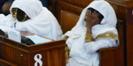 Ethiopia parliament the rubber stamp of the Woyane. Woyane women sleeping in parliament