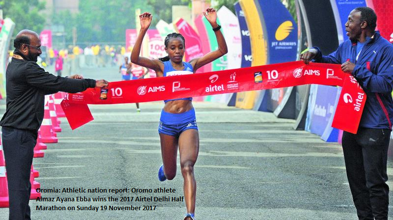 Oromo athlete  Berhanu  Almaz Ayana Ebba wins the  2017 Airtel Delhi Half Marathon  on 19th November 2017.png