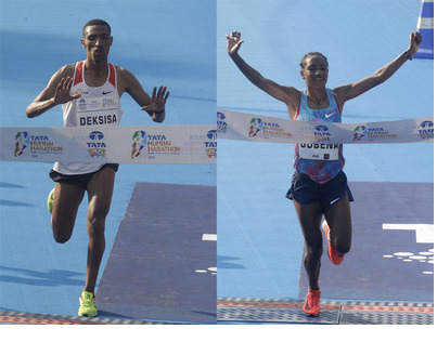 Oromo athletes Solomon Deksisa and Amane Gobena won Mumbai Marathon, 21 January 2017.png
