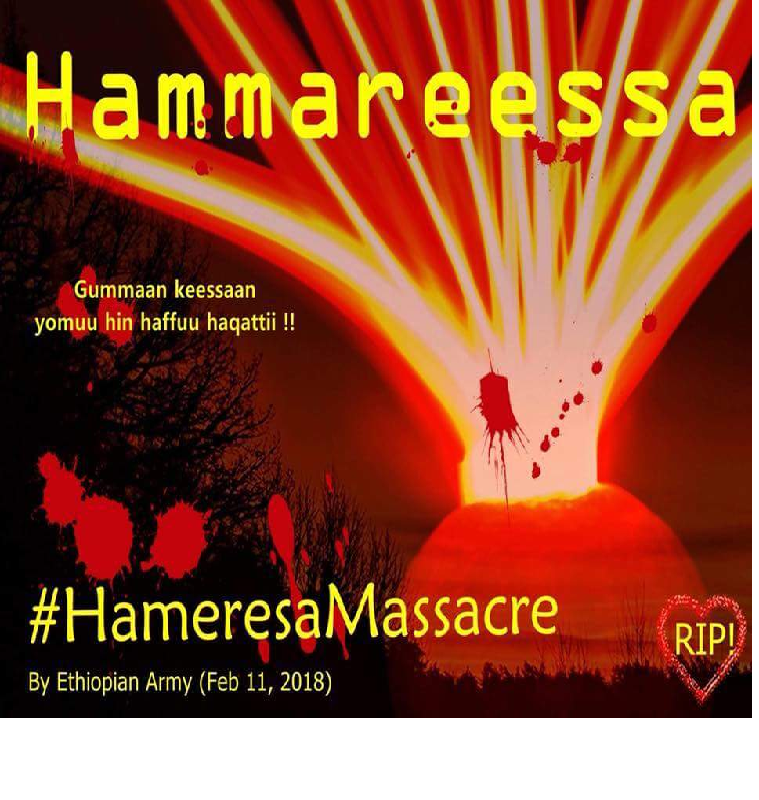 Fascist ethiopian regime (TPLF) Agazi forces conducted another barbaric mass killings  at  Hammaaressaa, ternally displaced people  camp in Eastern Oromia.png
