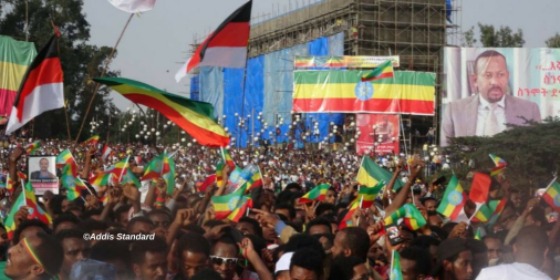 Millions have gathered at Hulluuqo kormaa (Meskel square), in Finfinnee (Addis Ababa)  to take part in a peaceful solidarity rally in support of PM Abiy Ahmed's reform agenda. #March4Abiy #AbiyAhmed #Ethiopia #OromoProtests.png