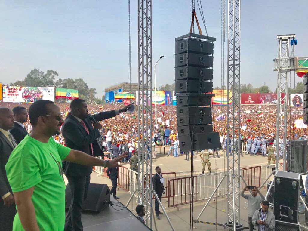 Millions have gathered at Hulluuqo kormaa (Meskel square), in Finfinnee (Addis Ababa) to take part in a peaceful solidarity rally in support of PM Abiy Ahmed's reform agenda. #March4Abi