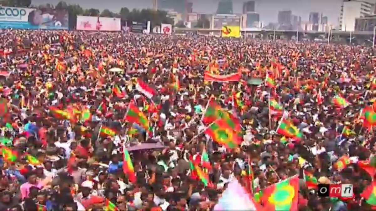 7 million strong freedom-loving #Oromo have converged onHulluuqoo Kormaa, Dirree Masqalaa (Meskel Square) in Finfinnee to welcom OLF leaders, 15 sept. 2018