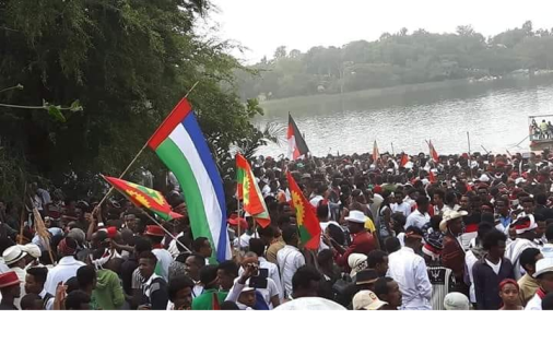 Youths of the Sidama nation (Ejjetto) and the Oromo people at Irreecha celebration, September 30, 2018 in Bishoftu, Oromia